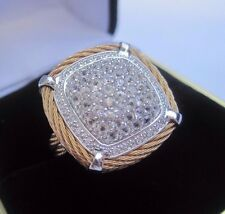 Charriol Celtic Classique Diamond/White Sapphire 18k Gold Cable Ring, Size 6.25