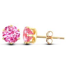 9ct Gold pink 5mm Cubic Zirconia stud earrings Erin Rose Jewellery Co