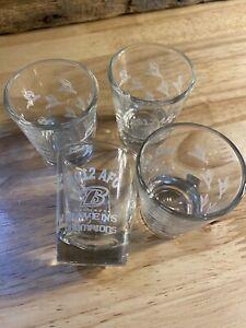 Lot of 4 BALTIMORE RAVENS 2012 AFC CHAMPS SHOT GLASSES Superbowl XLVI bar drink
