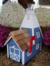 Amish Handmade Rural Mailbox Solar Lighthouse Lt Blue Homemade Handcrafted