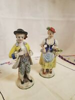 Two Vintage Maruyama Colonial Victorian Man Woman Figurine  Occupied Japan
