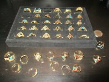 Plate Rings Red Coral & Turquoise Mens & Womens American Western Style Gold