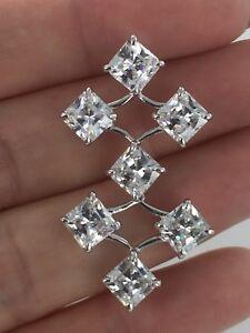 Designer Princess Shape CZ Silver Rhodium Chandelier Earrings