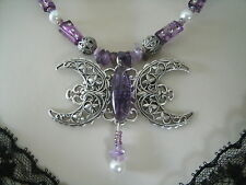 Amethyst Triple Moon Necklace, wiccan pagan wicca goddess witch witchcraft magic