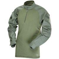 Tru-Spec 2565005 Men's OD Green Cotton Blend LS 1/4 Zip Combat Shirt - LG/Reg