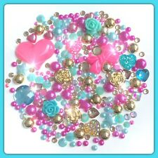 Gold, Pink and Aqua Cabochon Gems Pearls flatbacks for decoden crafts