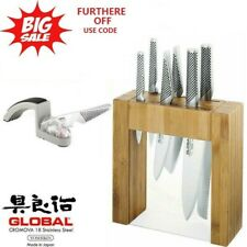 Global Ikasu 7pc Knife Block Set+Minosharp 2-Stage Water Sharpener,GIFT BOXED