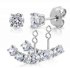 Elensan S925 Sterling Silver 2 in 1 Cubic Zirconia Stud and Ear Jacket Cuff Earr