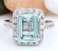 Princess Aquamarine Gems Wedding Engagement Ring 925 Silver Jewelry Size 6-10