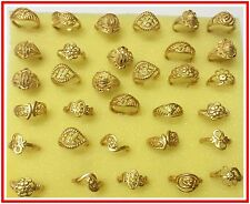 Wholesale lots of 50pcs Assorted Indian 24k Goldplated Brass Ring Bands 16-19mm.