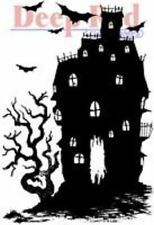 Deep Red Rubber Cling Stamp Haunted House Silhouette Halloween Spooky