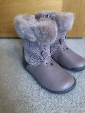 Girls Clarks Boots Shoes 7 New Furry Bunny Pink Leather 5.5F