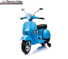 Moto elettrica per bambini PIAGGIO VESPA PX 150 con rotelle 12V luci led Azzurro