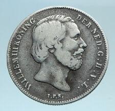 1857 NETHERLANDS King Wilhelm III Antique Genuine Silver 1/2 Gulden Coin i81042