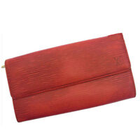 Louis Vuitton Wallet Purse Long Wallet Epi Red Woman Authentic Used R822