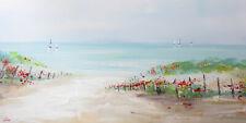 tableau peinture paysage bateau mer, chemin vers la plage, barrière dune sable