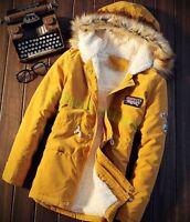 Mens Fur Collar Jackets Military Parka Hooded Fleece Outwear Winter Casual Coats