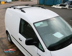 VW CADDY 2004-2010 ALUMINIUM ANTI THEFT ROOF RAIL BARS RACK + CROSS BARS BLACK