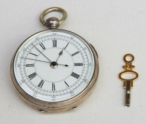 800 SILVER CASE  KEY WOUND POCKET WATCH, LARGE SWEEP SECONDS HAND