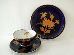 Tea Cup Saucer Plate Trio Cobalt Gold Raised Flowers Germany Ilmenau Vintage