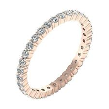 Eternity Stackable Wedding Ring SI1 G 1.30 Ct Round Diamond Rose Gold Prong Set