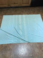 "Vintage 1960's Table Cloth Turquoise with Gold Stripe 88"" x 58"""
