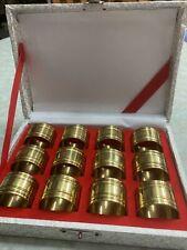 New listing Vintage Set of 12 Round Brass Napkin Rings Original Box