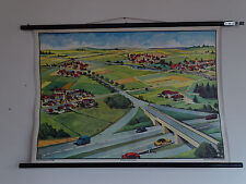 P6432 Lehrtafel - Lehrmittel - Rollkarte - Straßentypen und Dorftypen