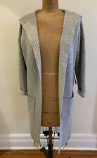 NWT $595 TAHARI Pure LUXE 100% Cashmere Hooded Long Cardigan Duster Coat gray S