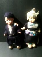 Vintage Compo/Wood /Holland Doll~ Pair Man and Woman/ Marked On Shoe Holland