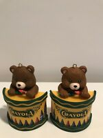 Christmas Holiday Ornaments 2 Crayola Brown Bear w/ Drum and Crayon Drum Sticks