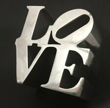 "Vintage 1970 Robert Indiana Polished Aluminum ""LOVE"" sculpture paperweight"