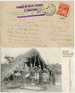 SIERRA LEONE 1918 WW1 PPC 3 LINE NAVAL CENSOR LISK CAREW CARD LOCATION CONCEALED