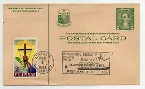 1968 Manila Philippines 2c Rizal Postcard with Scott #934 Christianization Stamp