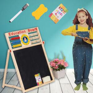 2 in 1 Kids Easel Black White Board Chalk Drawing Writing Children Educational