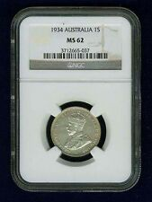 AUSTRALIA GEORGE V  1934 SHILLING SILVER COIN, UNCIRCULATED CERTIFIED NGC MS-62