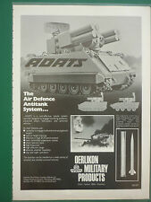 1/1983 PUB OERLIKON MILITARY PRODUCTS ADATS AIR DEFENCE ANTITANK SYSTEM AD