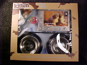 *KITTEN STARTER SET*METAL BOWLS*PLACEMAT*TOYS*PHOTO FRAME*CAT*NEW IN BOX*