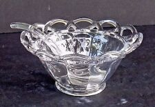 IMPERIAL GLASS CROCHETED CRYSTAL CHEESE BOWL WITH SPOON