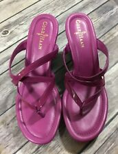 Cole Haan NWOB Womens Strappy Wedge Sandals 7.5B Purple Patent Leather Slides