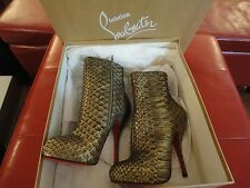 CHRISTIAN LOUBOUTIN BRONZE/GOLD PYTHON FETICHA BOOTS IT36 OR USA 6 NWB!!