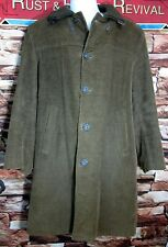1960s Corduroy Car Driving Coat Faux Fur Sherpa Lined RUGBY Knitting Mills