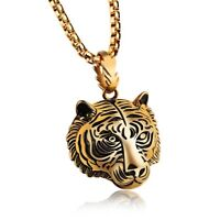 Men's Stainless Steel Gold Plated Tiger Head Necklace w Gold Plated Chain SiN26