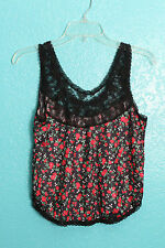 Ashley Taylor Black Lace Floral Sleeveless Tank Top Cami Lingerie Retro Pinup M