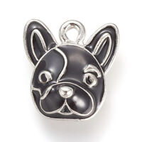 10pcs Alloy Enamel Charms Dog Pendants Findings Pet Black French Bulldog 15mm