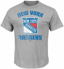 Nhl New York Rangers Steel Heather Game Misconduct T Shirt by Majestic