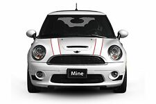 Mini Cooper 2002-2006 White and Red Hood Stripe Decals - Exact Fit No trimming