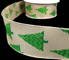 "5 Yds Christmas Green Glitter Christmas Tree Burlap Like Wired Ribbon 2 1/2""W"