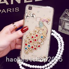 Glitter Crystal Bling Rhinestone Peacock Diamond Soft TPU Case Cover & strap #G