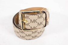 Women's Signature Buckle Belt Sz M Michael Michael Kors Brown Coated Canvas